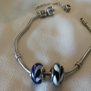 Set of 2 Pandora Murano glass charms